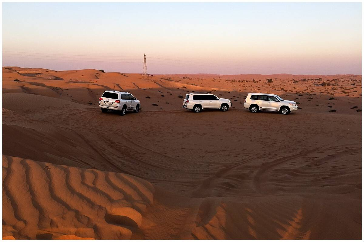 Dune bashing convoy in the desert in Ras Al Khaimah