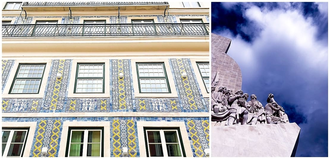 Discoveries monument and azulejos in Portugal