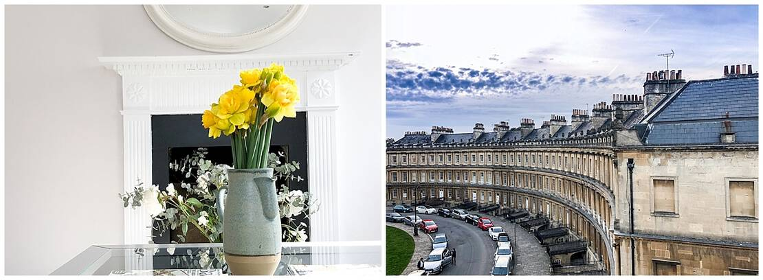 Fresh daffodils and view of The Circus in Bath