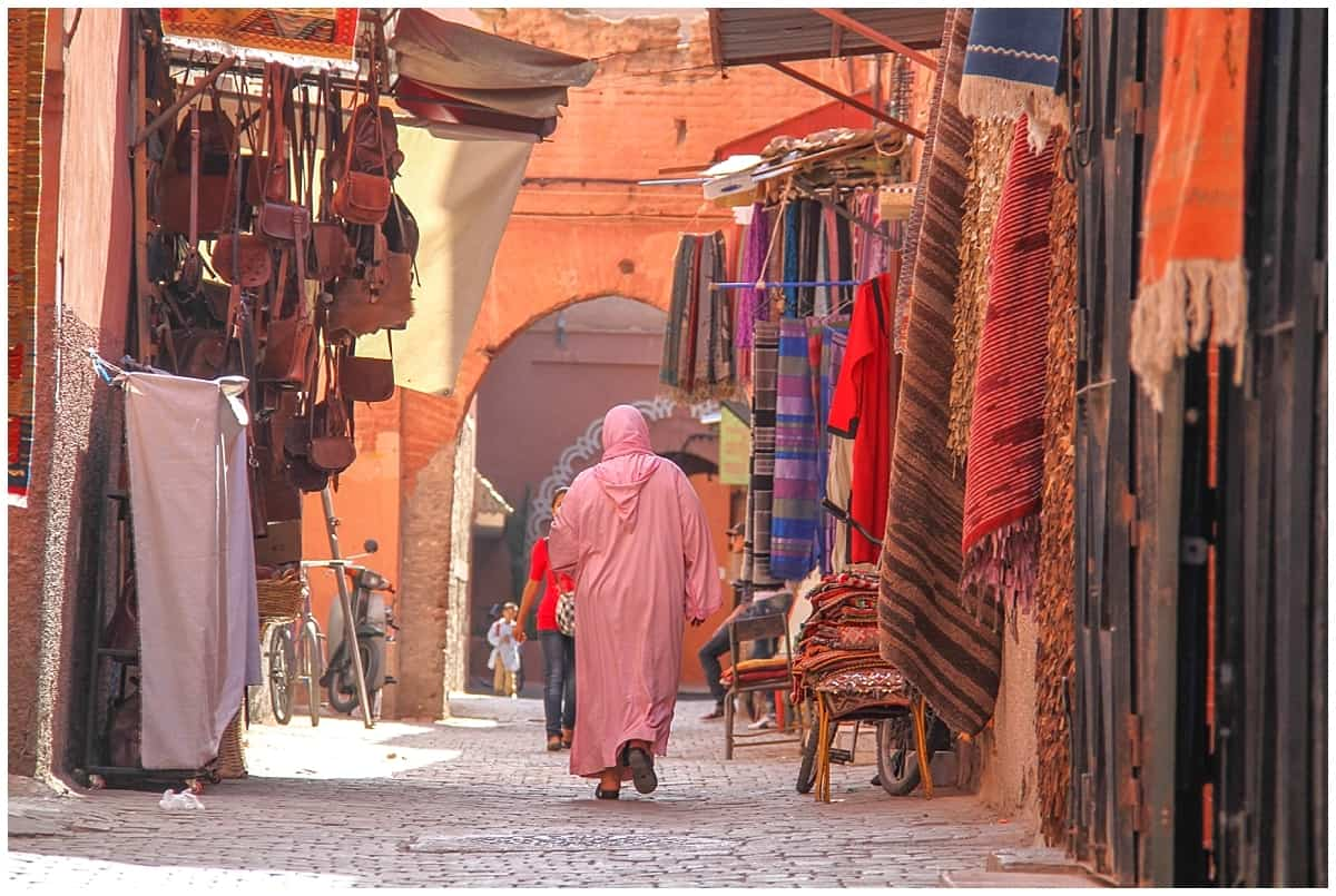 Narrow streets in Marrakech - driving in Morocco