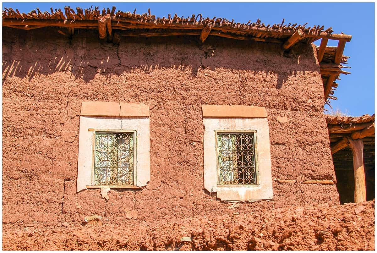 Berber Village Street View in the Atlas Mountains of Morocco