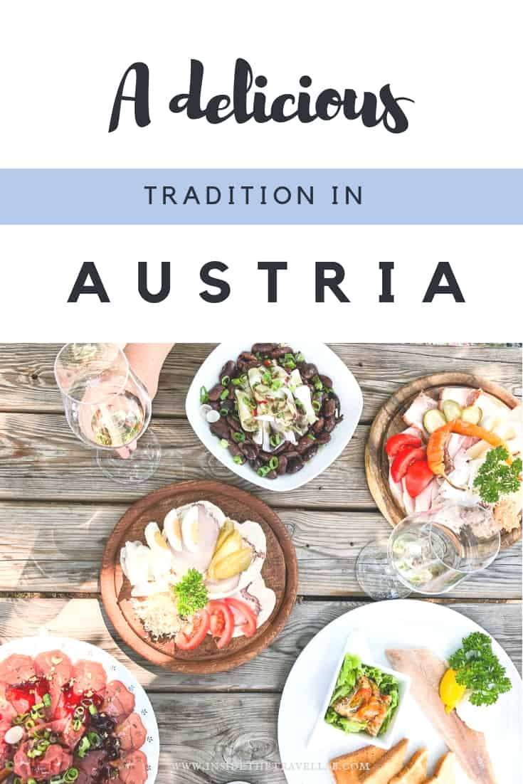 A delicious tradition in Austria involves hiking or cycling between local wineries and eating traditional Austrian food together in the sun. Full of local produce, these Buschenschanks are the highest wine growing regions in Central Europe. Brettljause is the name given to the cold platter of meats, cheese, egg, beans and horseradish. It's easy to set up your own visit. This article explains how to visit a Buschenschank Steiermark. #Austria #AustrianFood #nomnomnom #Styria