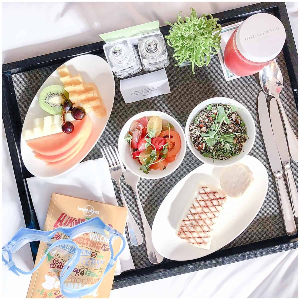 Healthy Tray of Treats at the One Aldwych Luxury Hotel in London Near Covent Garden