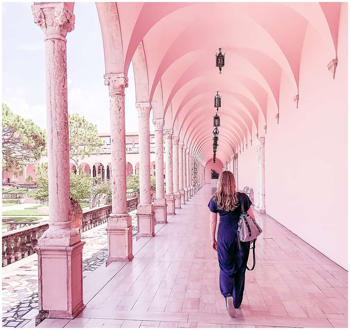 Walking through the arches at the Ringling in Florida