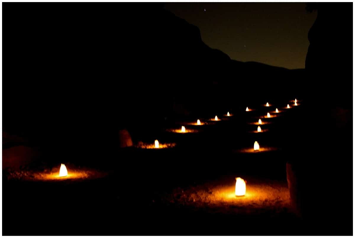 Petra by night paths with 1500 candles - most of the time the view will be like this