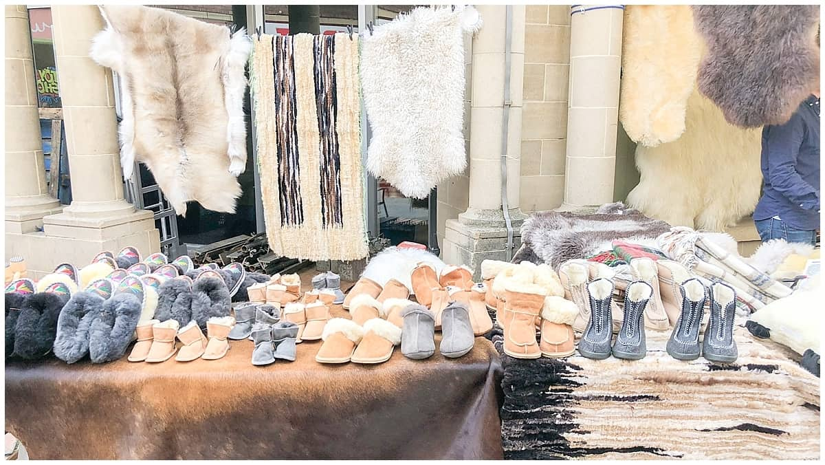 Sheepskin boots in the Cotswolds at Stroud Farmers Market