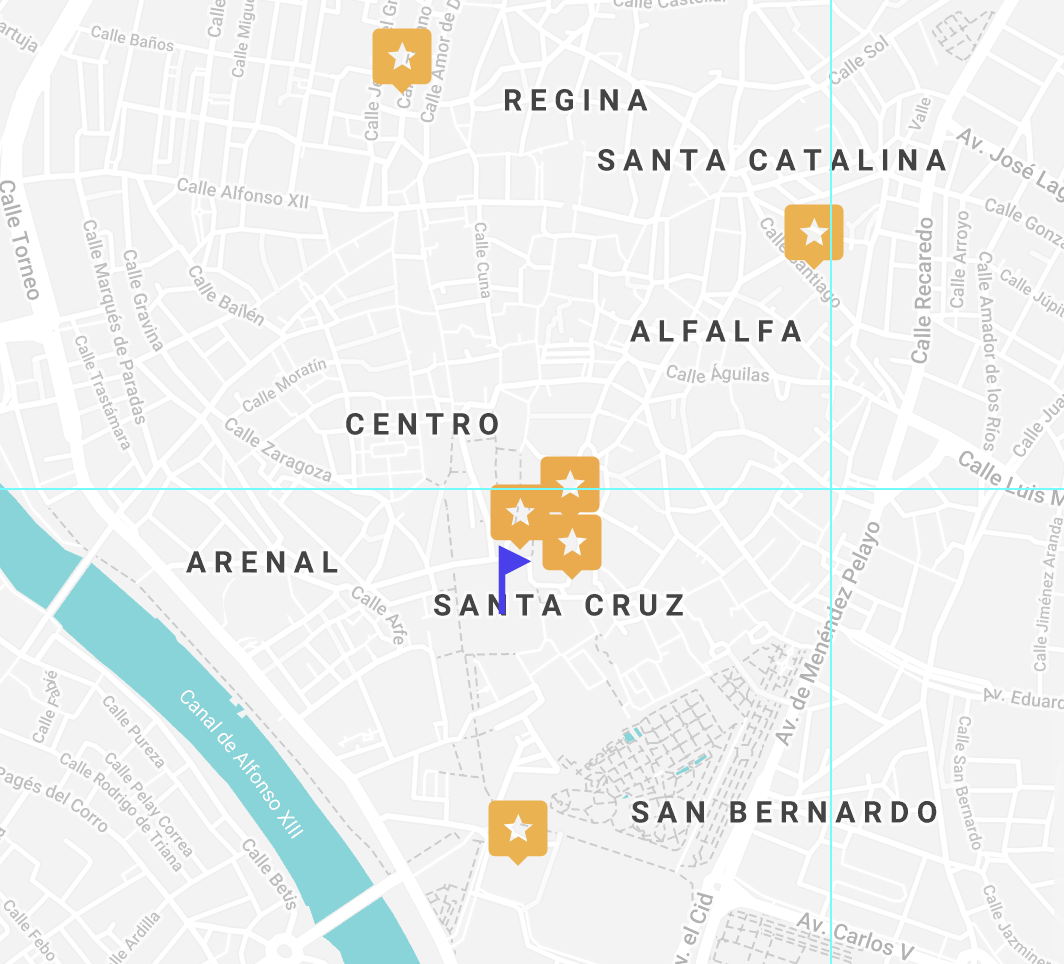 Central Seville Hotels Map