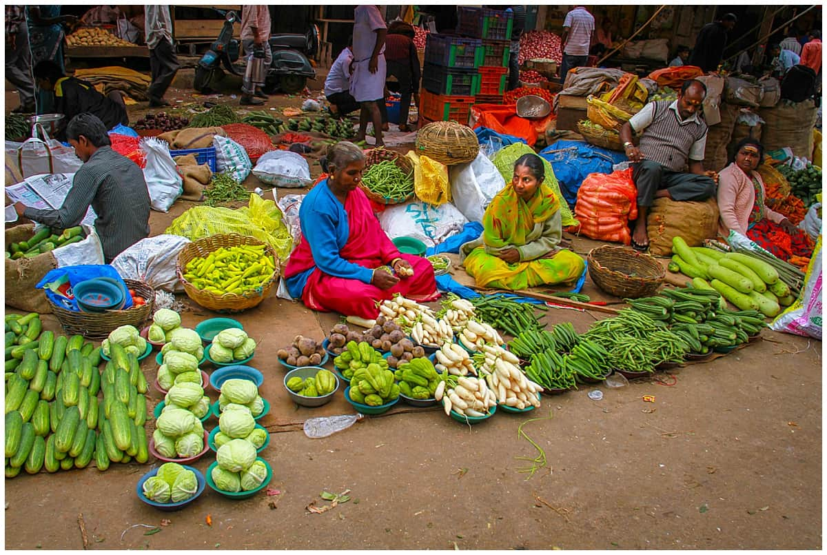Fruit and vegetables for sale outside the Bangalore Flower Markets