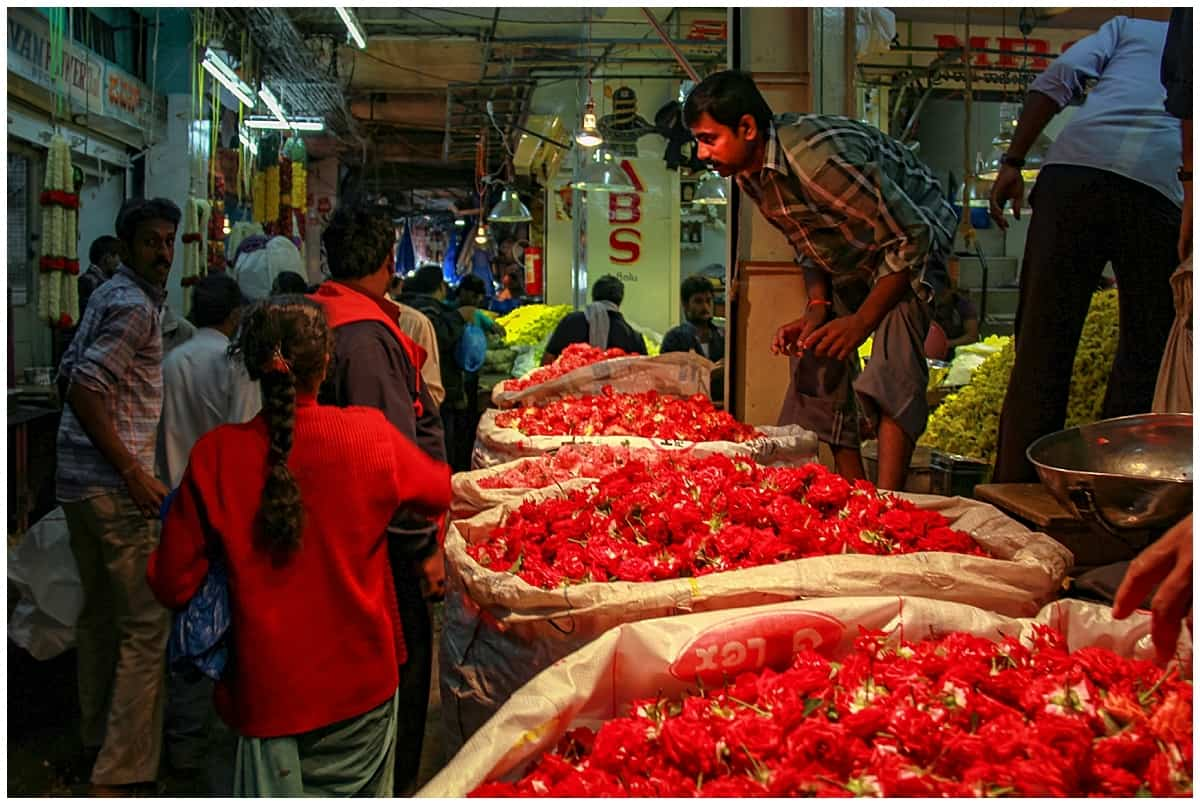 Busy thoroughfares in the Bangalore Flower Markets