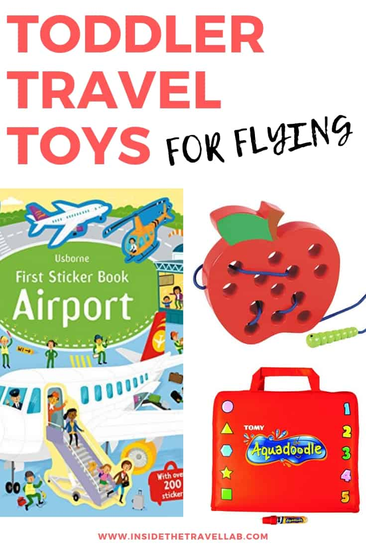 Toddler travel toys for airplanes all gathered into one, neat list. Great for family travel, long haul flights and short haul flights with young children.