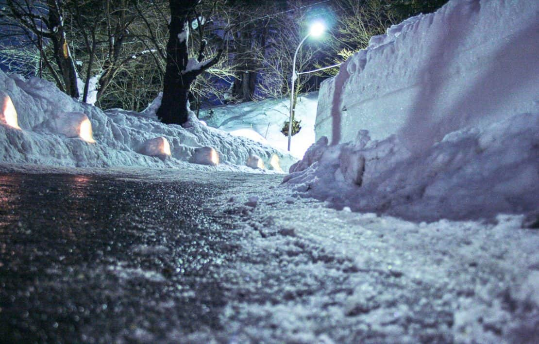Yokote Kamakura Igloo Festival Japan Sleet and Snowy Road