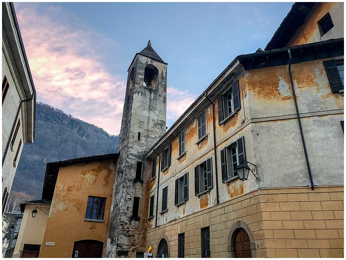 Clock tower in medieval Chiavenna Italy, Chiavenna Italy, Chiavenna what to see