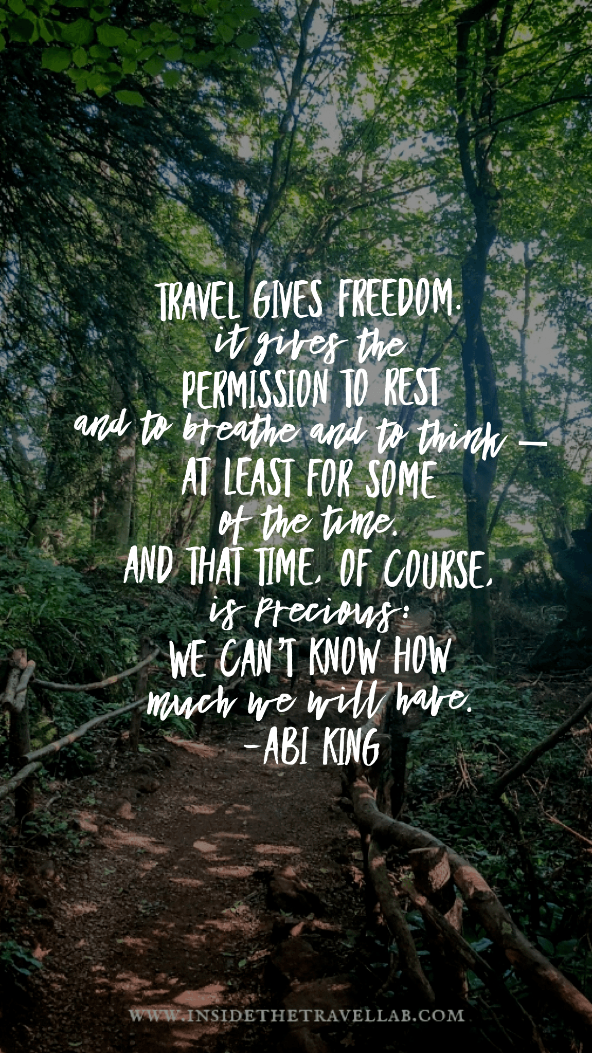 Travel quote travel gives freedom by Abigail King