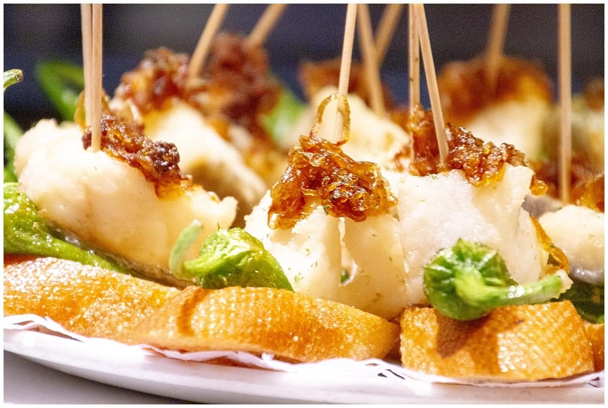 Bacalao and crispy caramelised onions pintxos in Donostia San Sebastian Spain