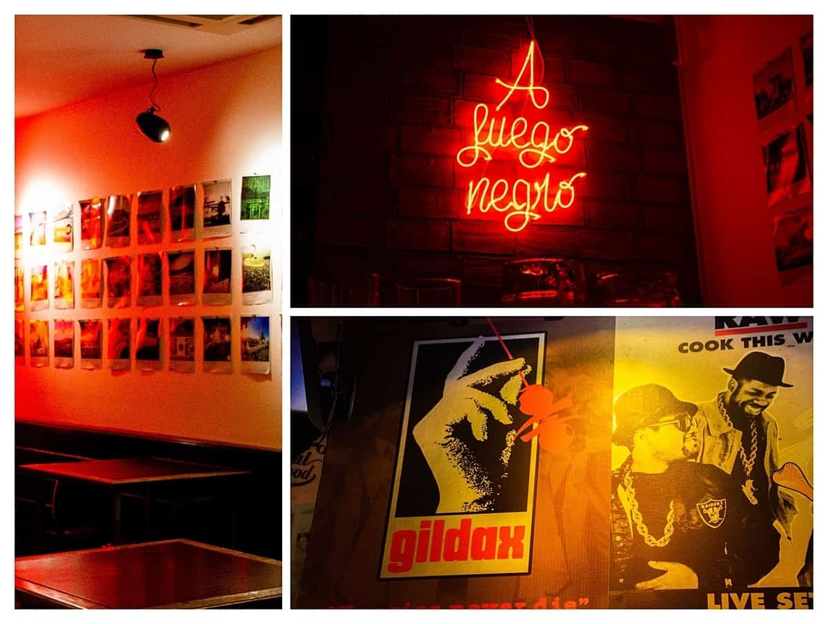 Fuegro Negra collage including neon red sign and postcards in San Sebastian