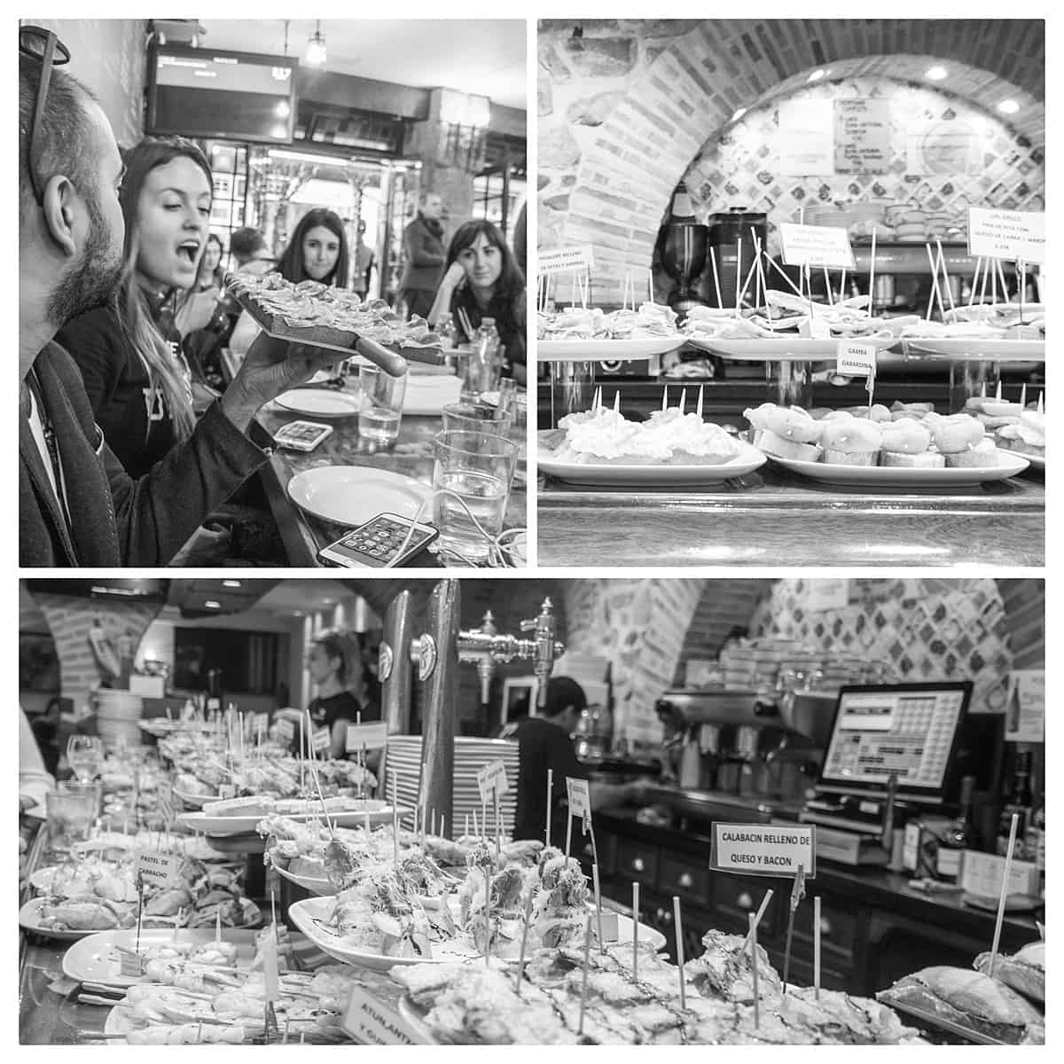 Monochrome collage of people enjoying pintxos and tapas in San Sebastian