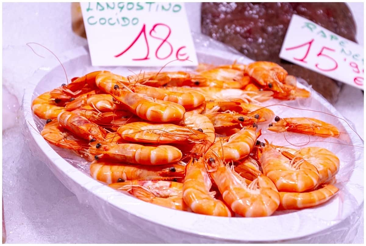Plate of large shrimps served as pintxos in Donostia San Sebastian Spain