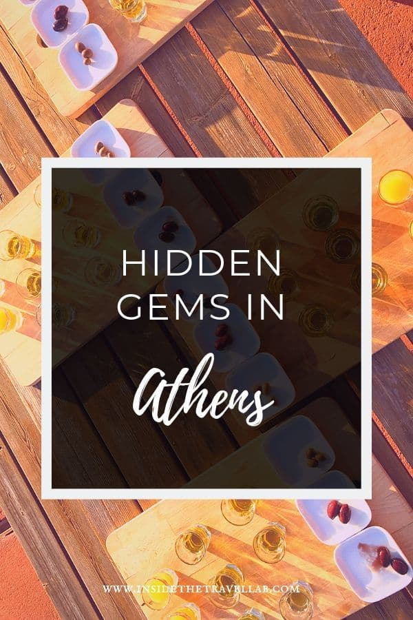 Olive oil tasting in Athens and a sign saying hidden gems in Athens