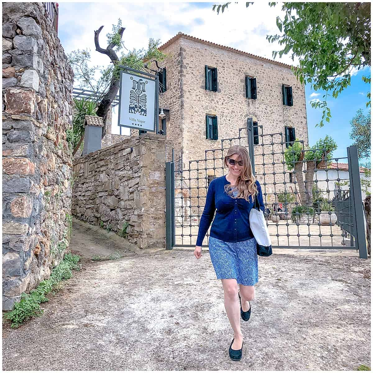 Abigail King striding away from Villa Vager Mani in the Peloponnese Greece