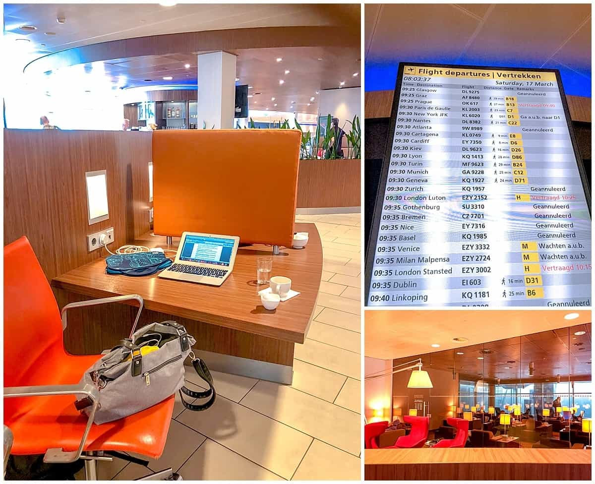 Airport Lounge and departure screen for long and short haul flights