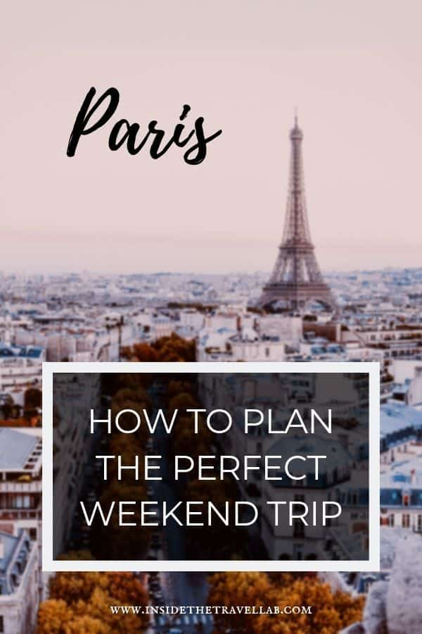 Eiffel tower behind text about planning a weekend in Paris