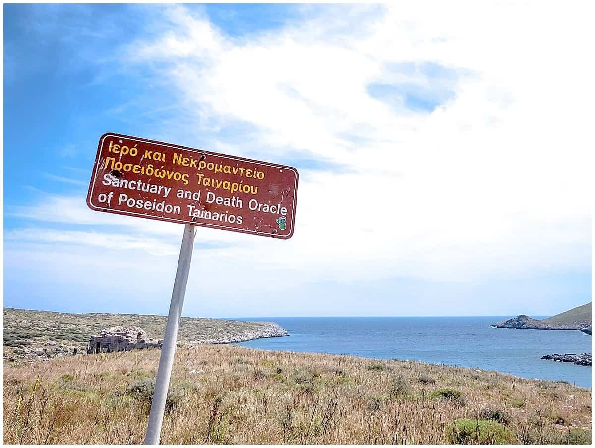 Signpost at Cape Tenaro tip of the Mani in Greece