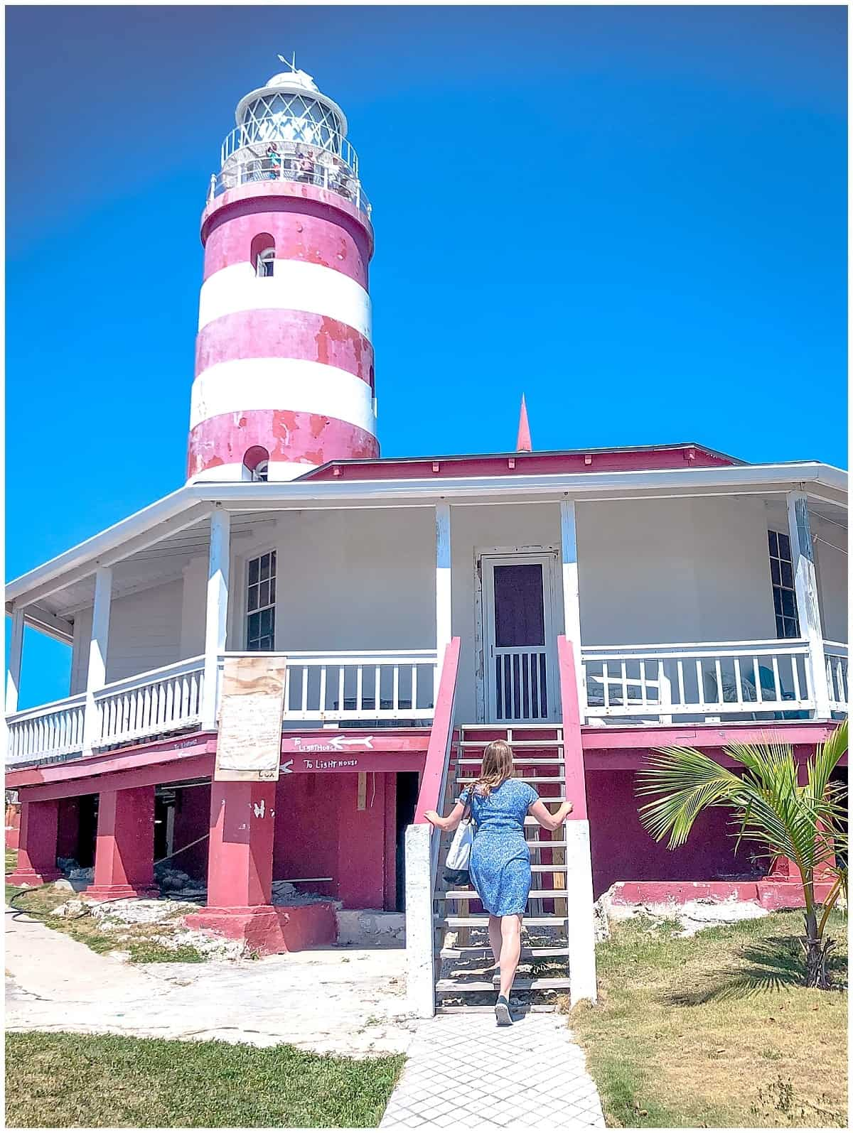 Woman climbing Elbow Cay Lighthouse