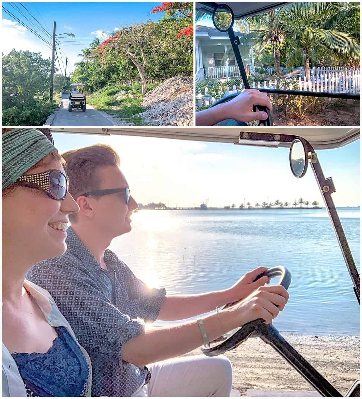 Golf buggy on Green Turtle Cay Bahamas