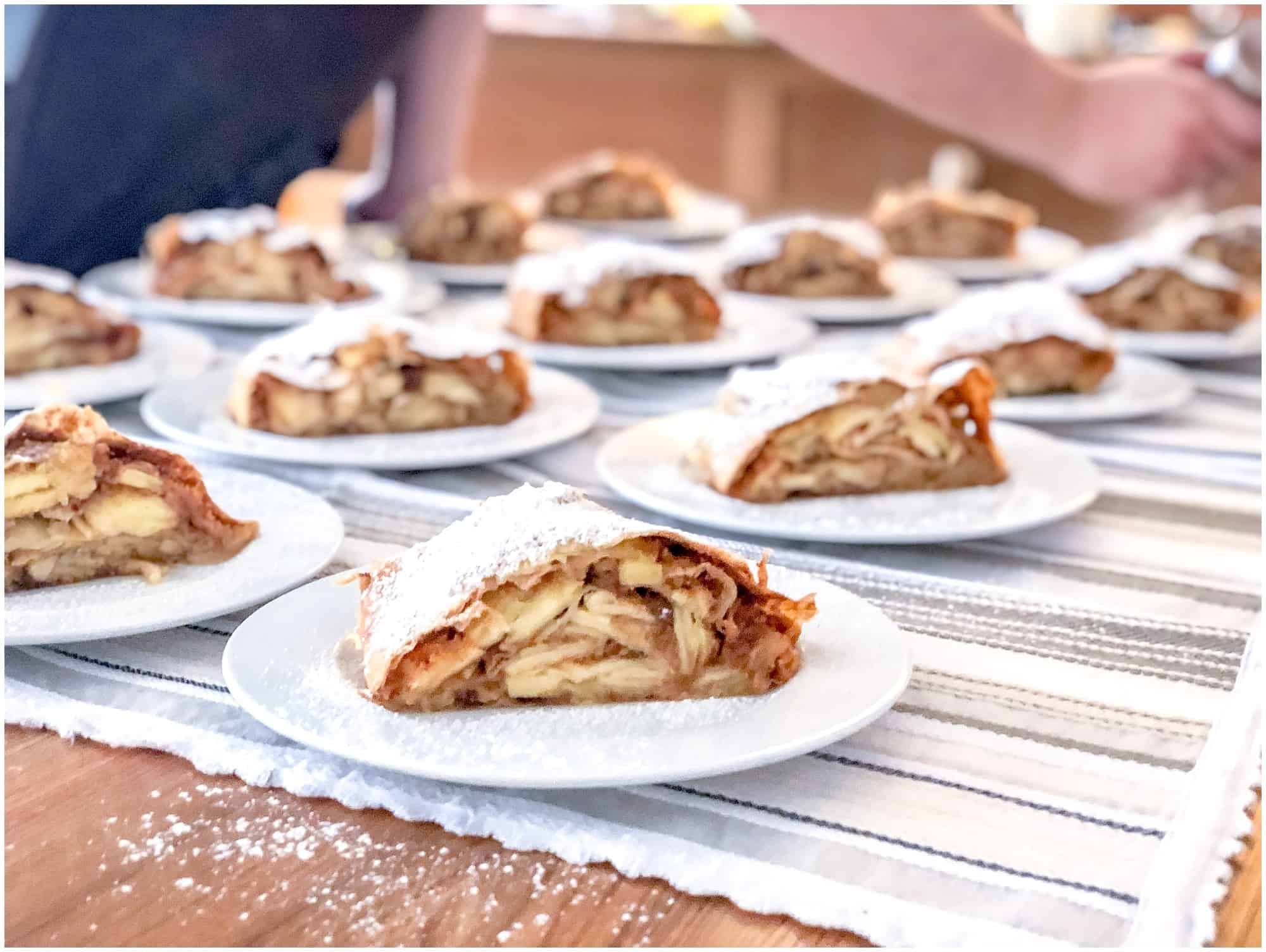 Plates of apple strudel a traditional austrian food