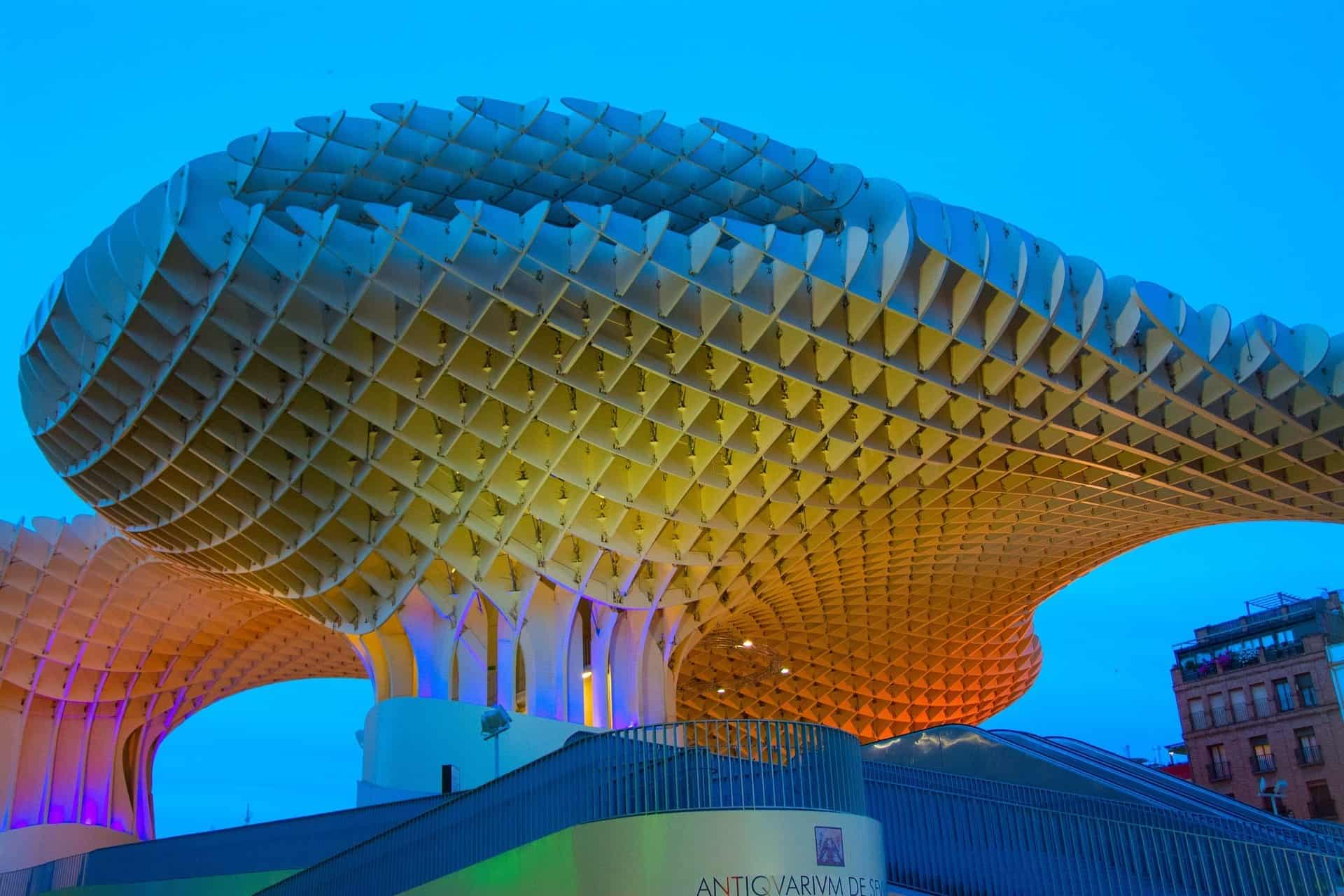 Best things to do in Seville see the Setas at night lit up