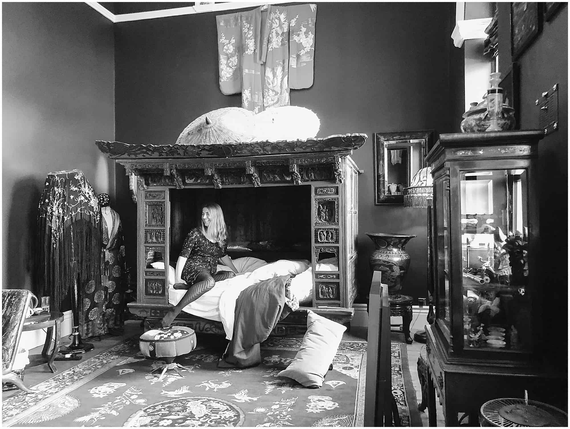 Abigail King on Opium Den Bed