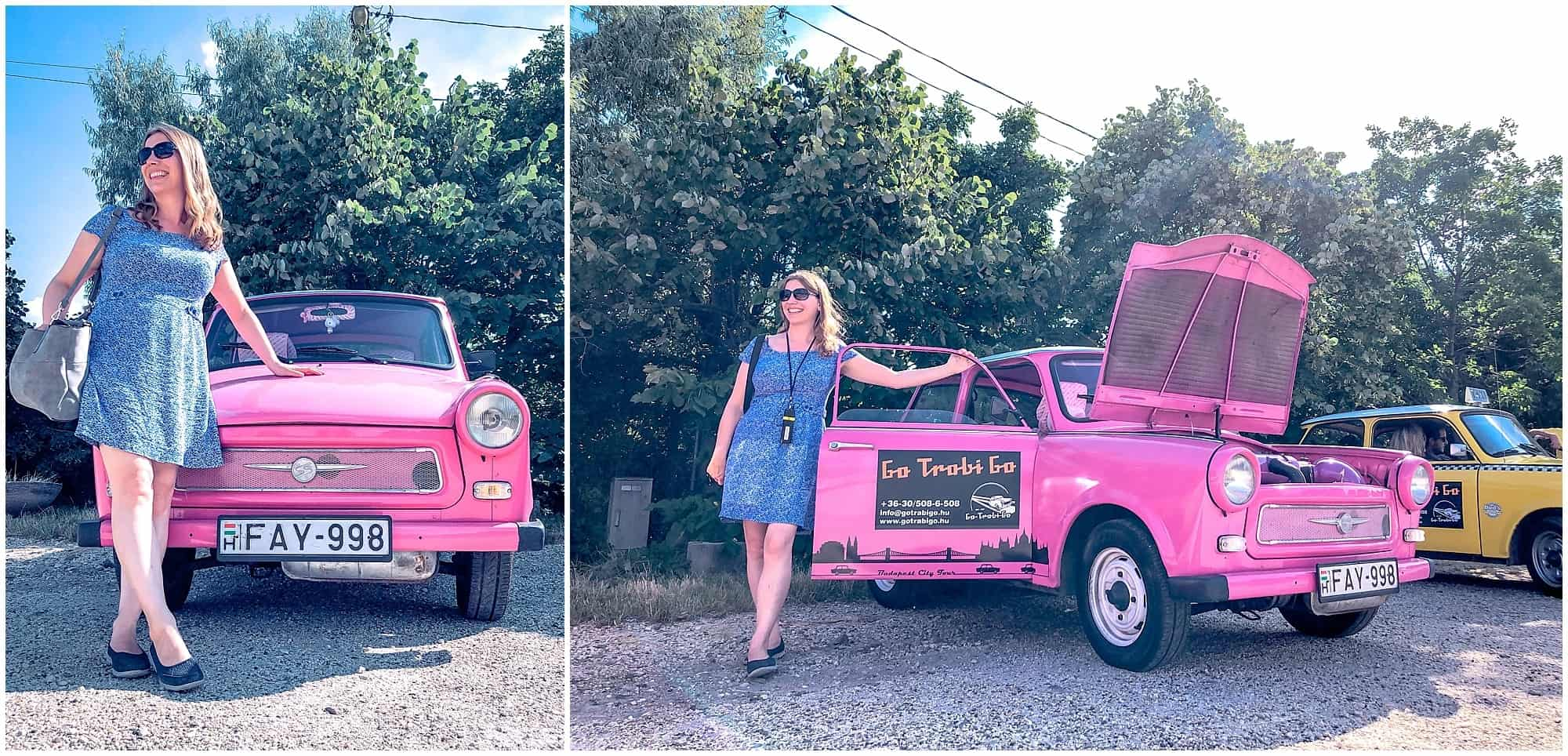 Abigail King and pink trabant in Budapest