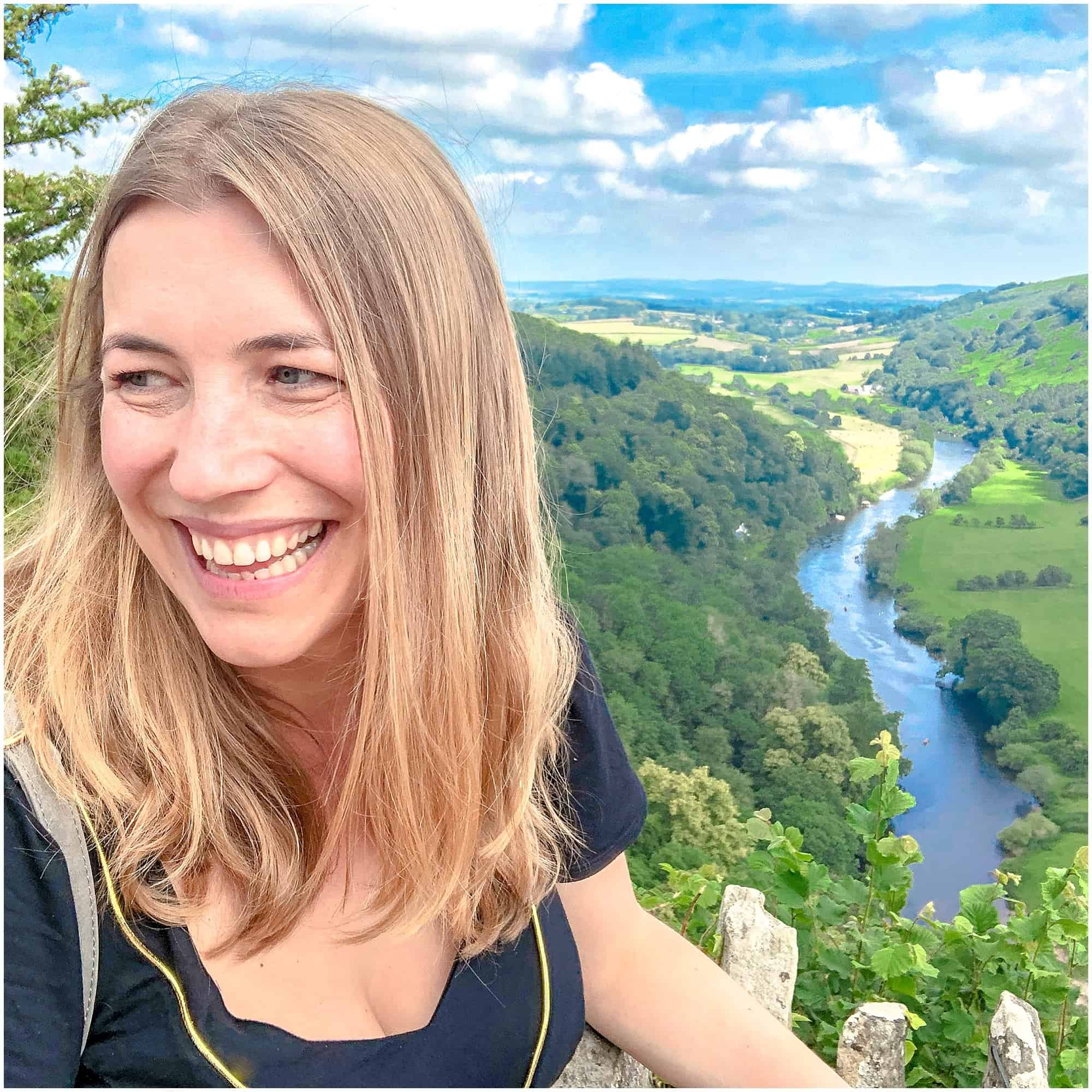Abigail King at the Symonds Yat Rock Viewpoint
