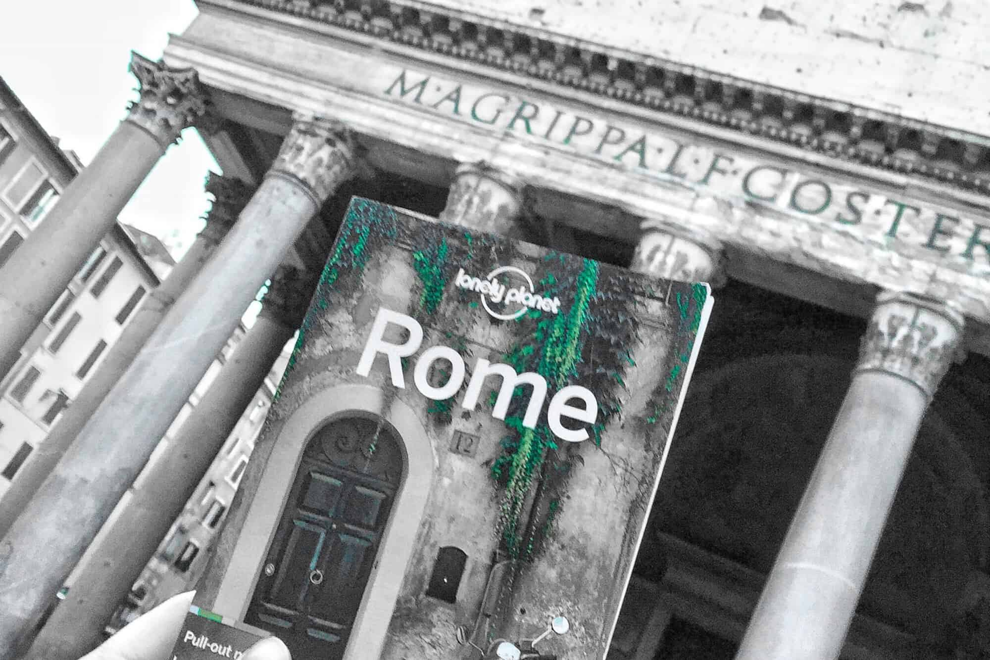 Italian Christmas Gift Ideas: Lonely Planet Rome book on location