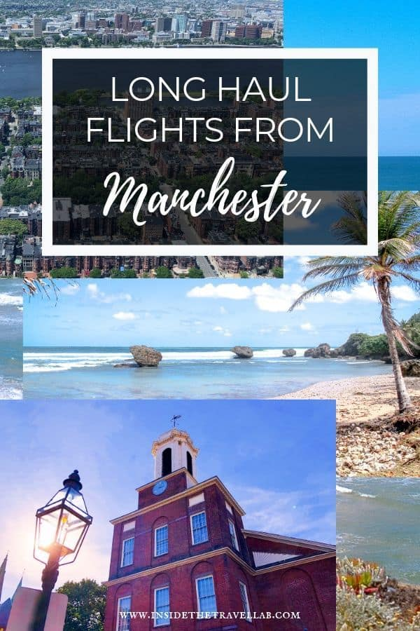 Long haul direct flights from Manchester include Boston, New York and Barbados. Here\'s why it\'s a good idea to take a regional flight from Manchester airport and what to do in each of these three fascinating destinations. #Travel #Manchester #UK #USA