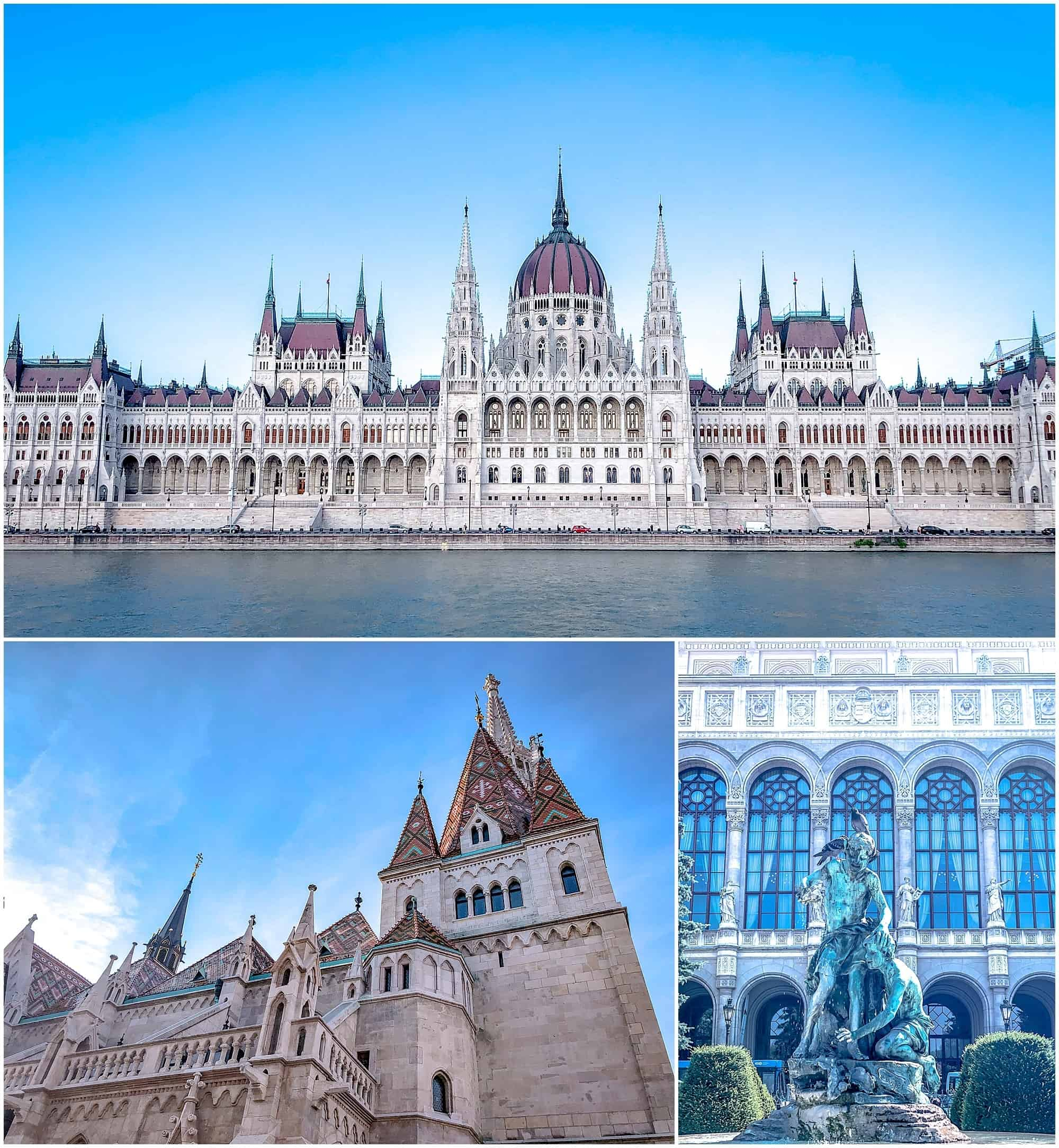 River view of Budapest parliament buildings