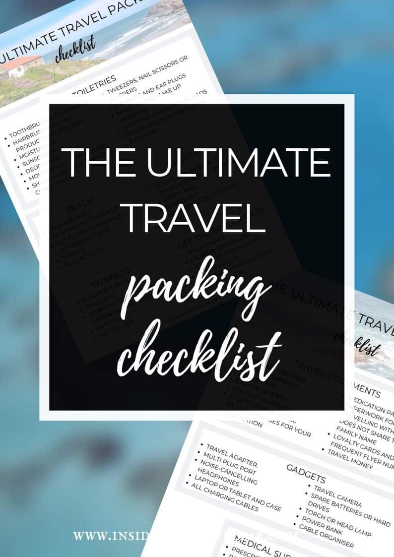 The Ultimate Travel Checklist and Packing List with downloadable free printable