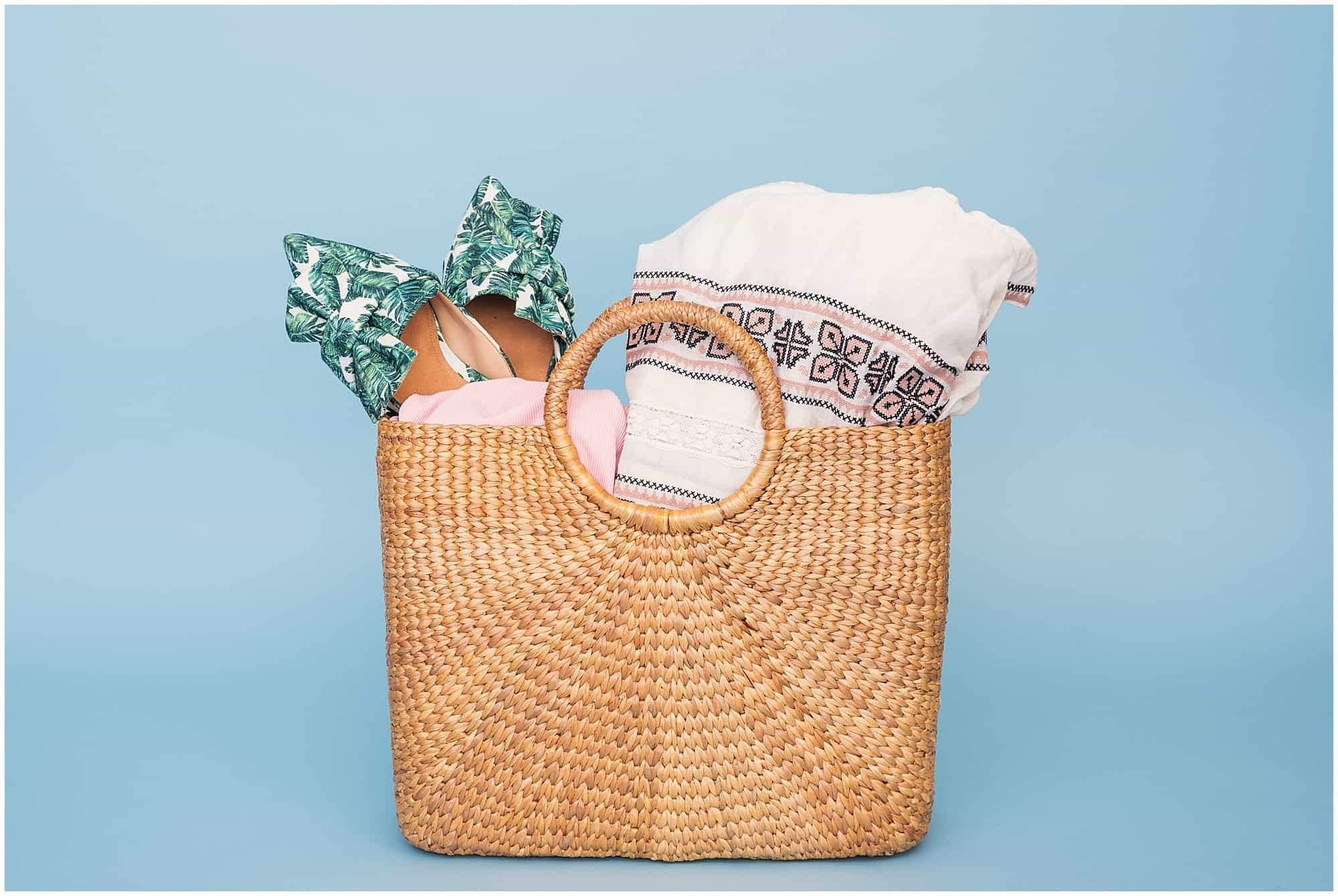 Travel checklist luggage wicker basket