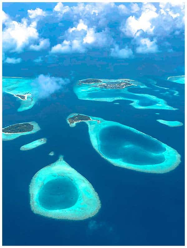 Atolls from the sky in the Maldives