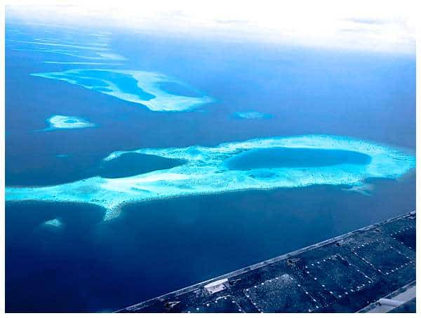 Maldives atoll from the sky view