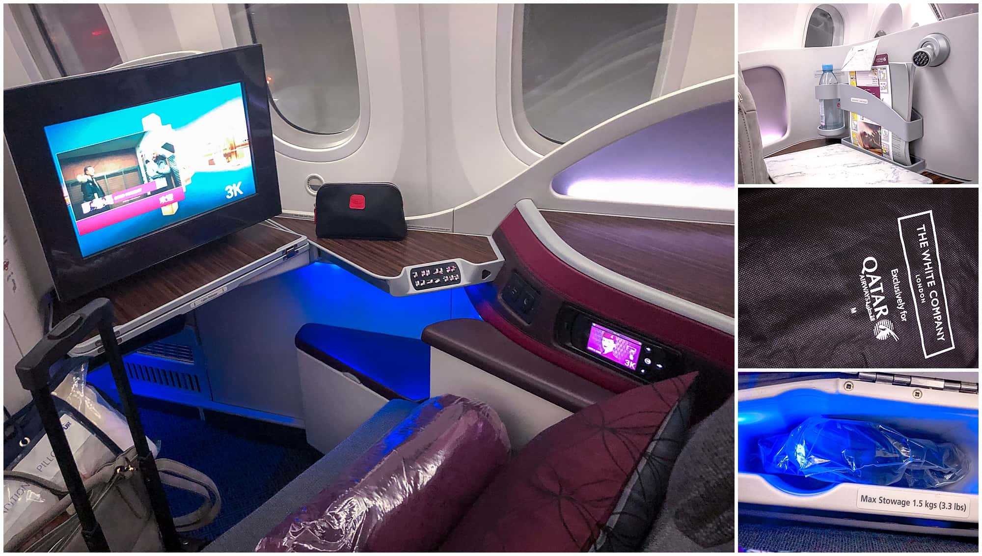 Qatar Airways Business Class Seat Dreamliner Doha Cardiff