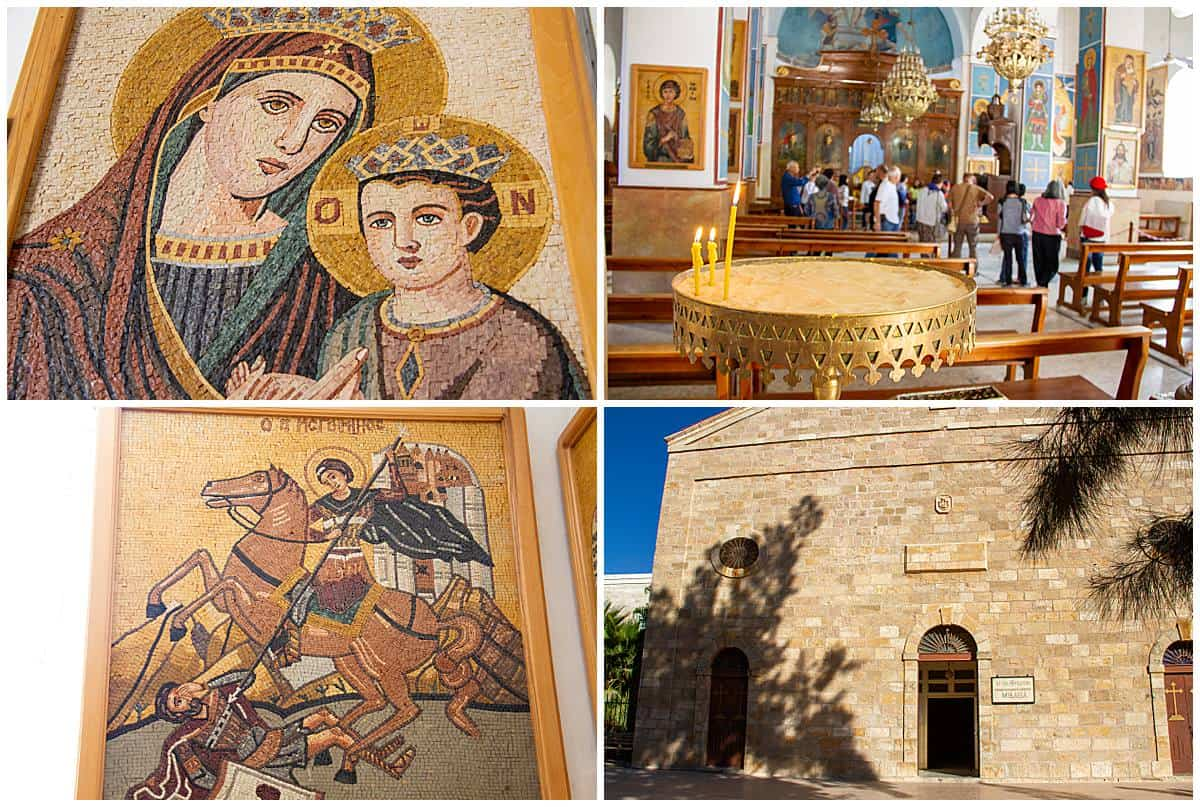 Madaba mosaics in Jordan and church exterior and interior