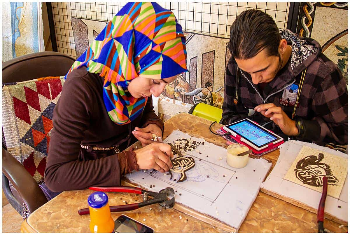 People making mosaics in Madaba