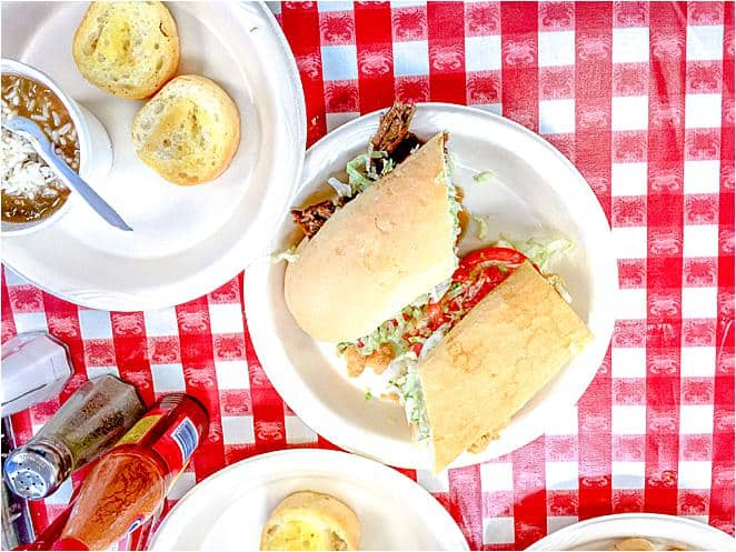Louisiana - New Orleans - Po Boy sandwich on red check cloth