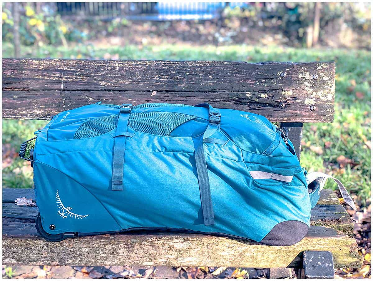 Osprey Farpoint 65 Review on park bench