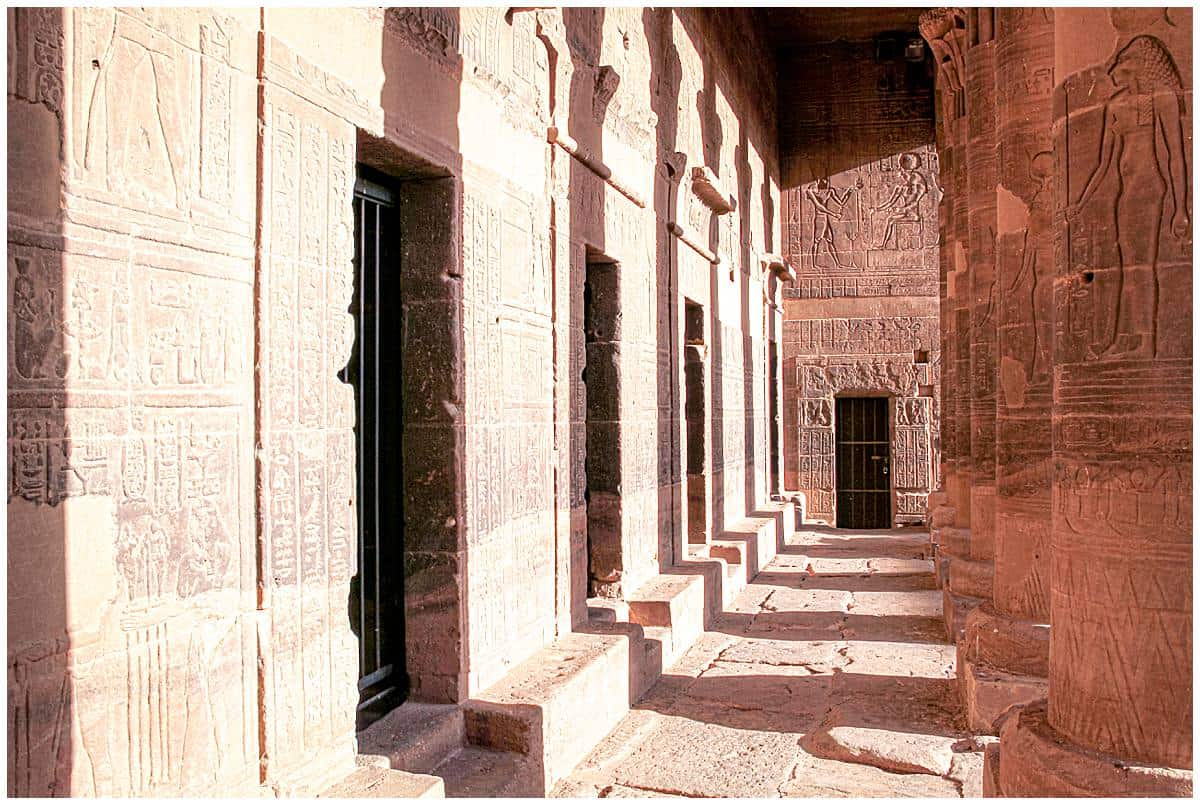 Deserted corridors in Philae Temple Aswan Egypt