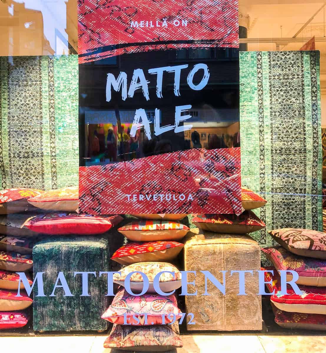 Finland - Helsinki - Souvenir collection ryija rug in shop window