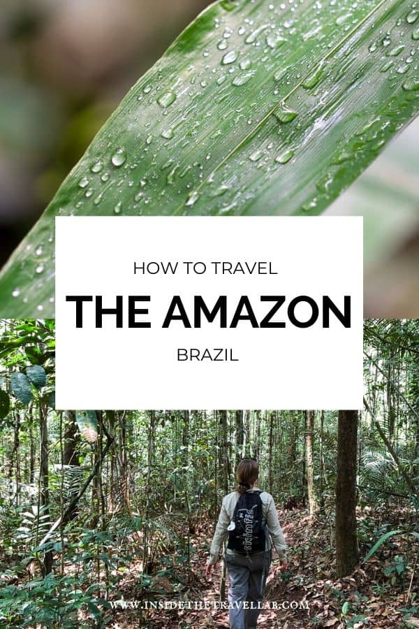 How to travel the Amazon Brazil. A collection of amazing activities and ideas on what to do in the Amazon based on experiences at the Juma eco lodge in Brazil. Bookmark for your Amazon travels. Cover.