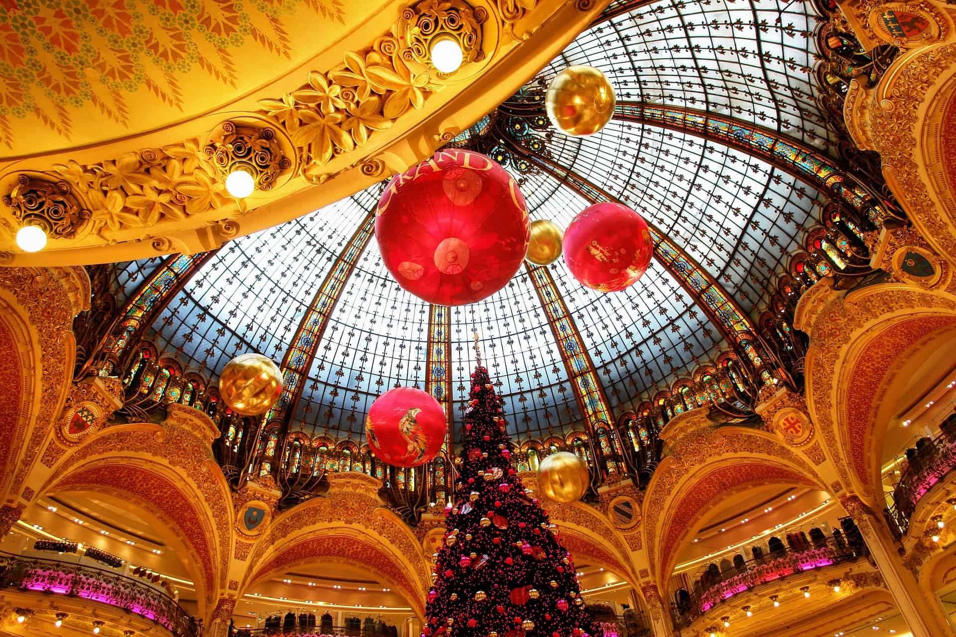 France - Paris - Galeries Lafayette - Grand dome at Christmas shopping time great for Paris souvenirs