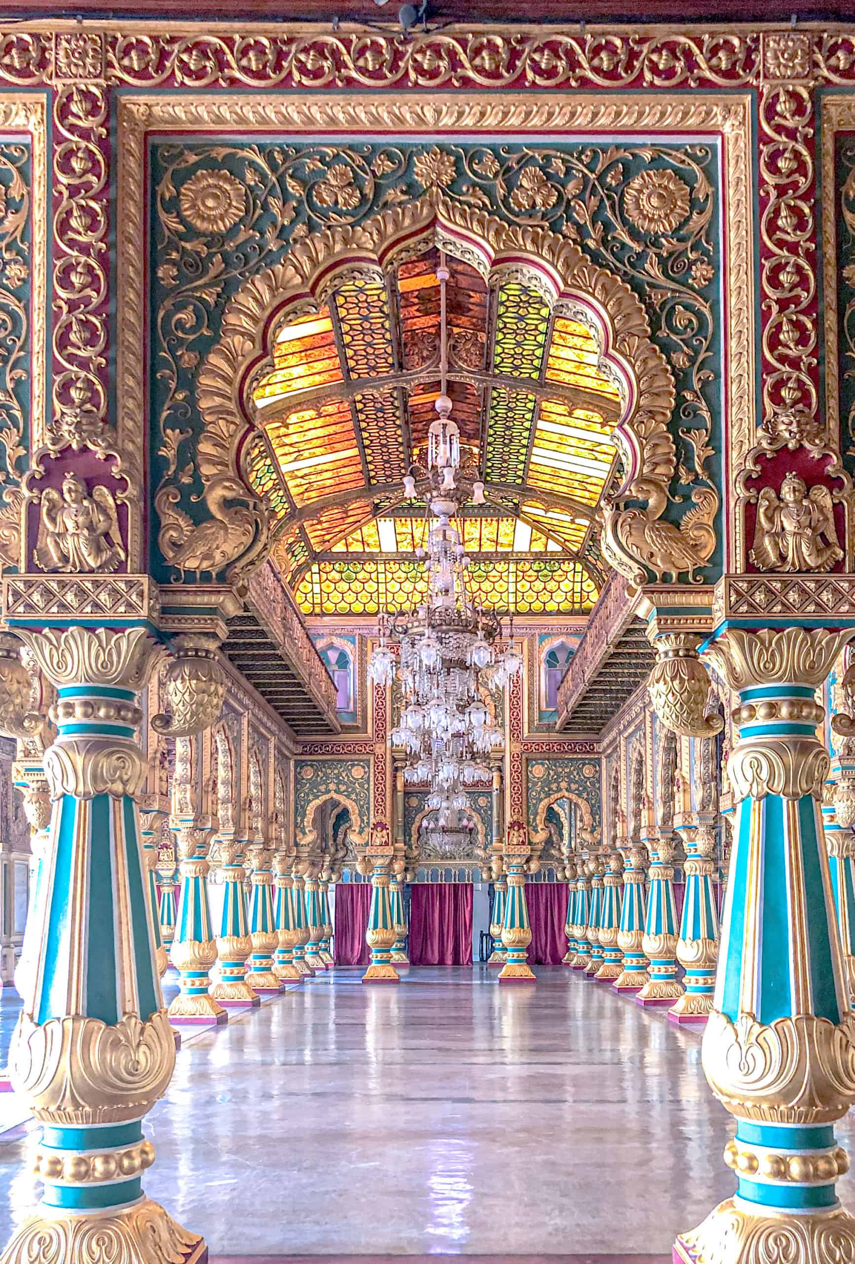 India - Karnataka - Mysore Palace Interior Gilded Hall